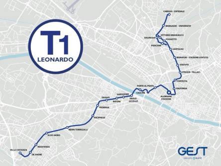 Mappa Tramvia Linea T1 Leonardo